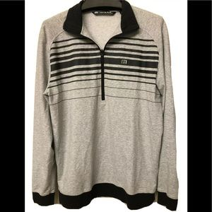 travis mathew pullover Golf gray striped size M